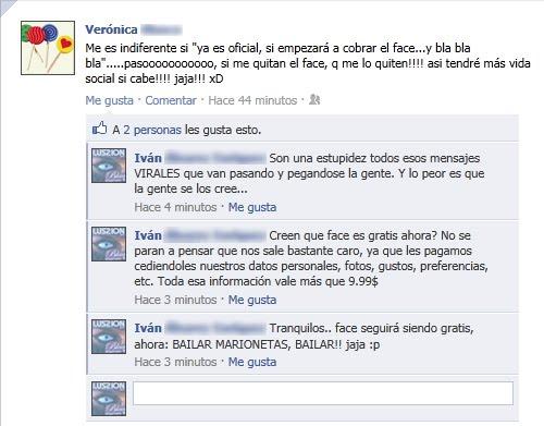 Imagen de facebook en la que una usuaria dice que no le importa que cierren facebook