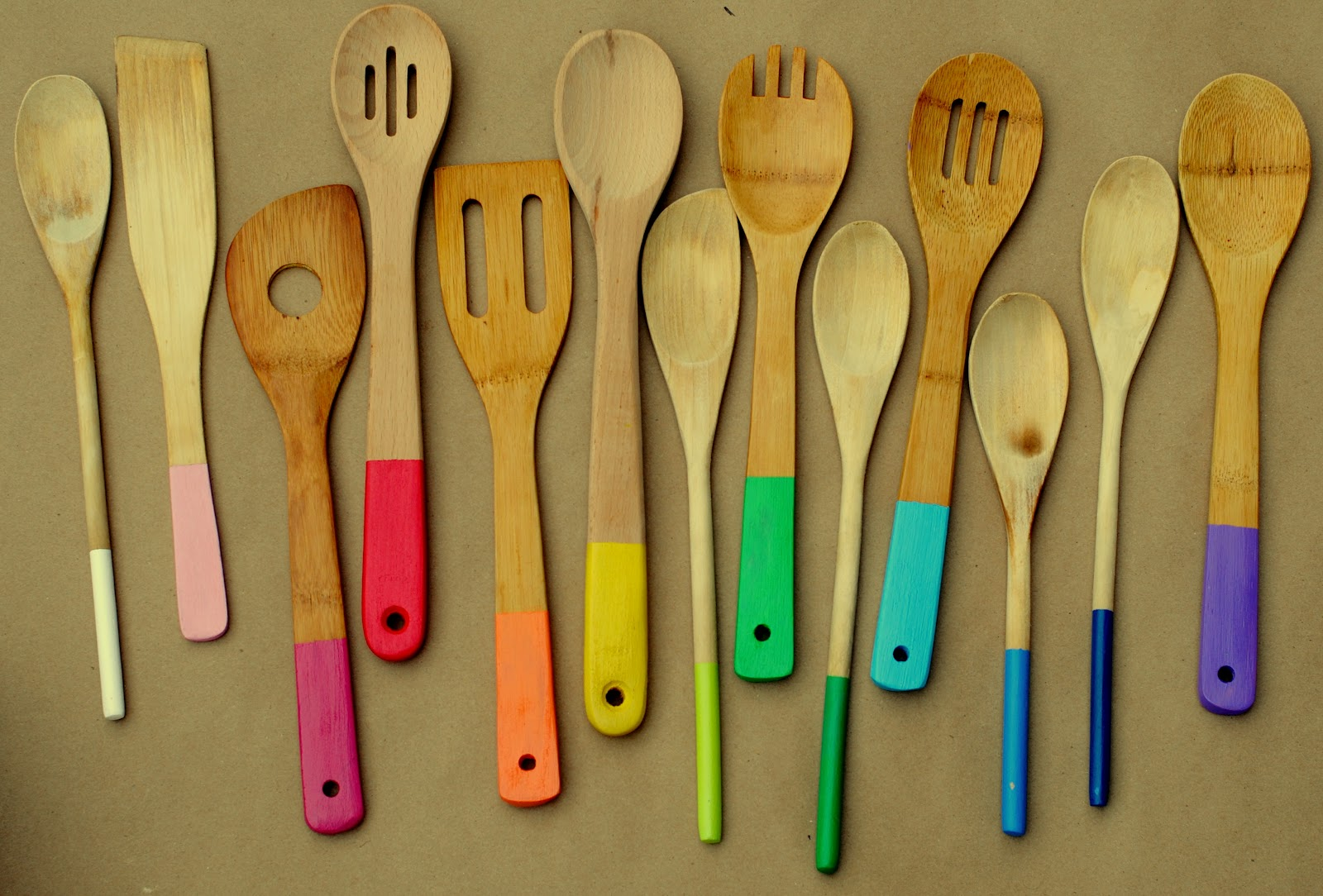 Rainbow Painted Wooden Spoons