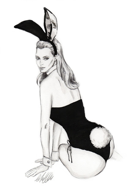 Kate Moss, Playboy, illustration, art, drawing, Kim Kardashian, bunny, editorial, fashion, Mert and Marcus,