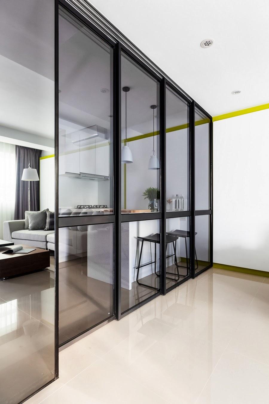 amenajari, interioare, decoratiuni, decor, design interior, colorat, apartament, modern, living, bar, bucatarie, usa glisanta,