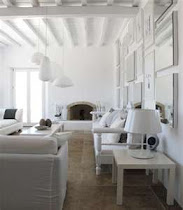 white beams & stone floors