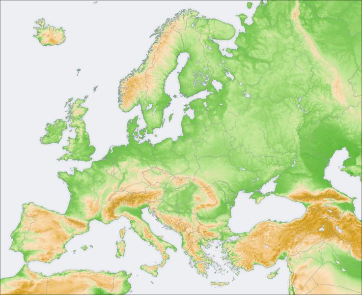Mapa físico y político de europa
