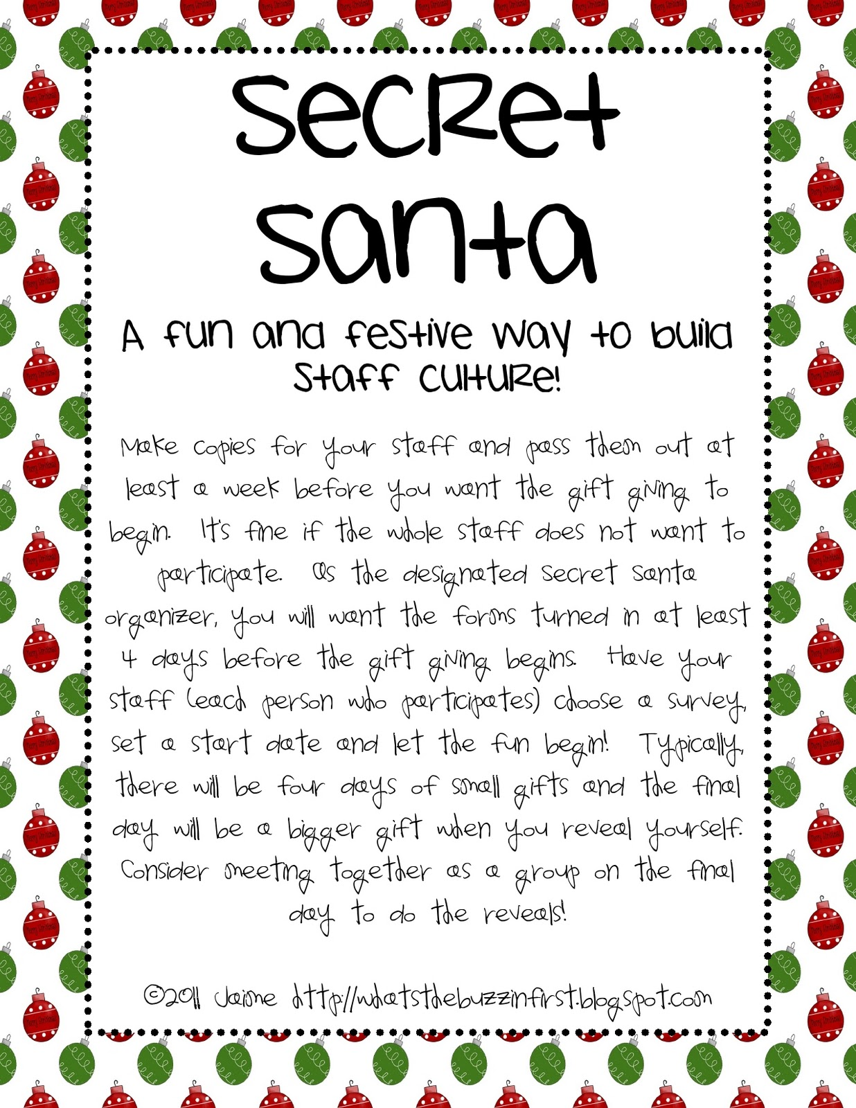 What 39 s the buzz in first december 2011 for Secret santa email template