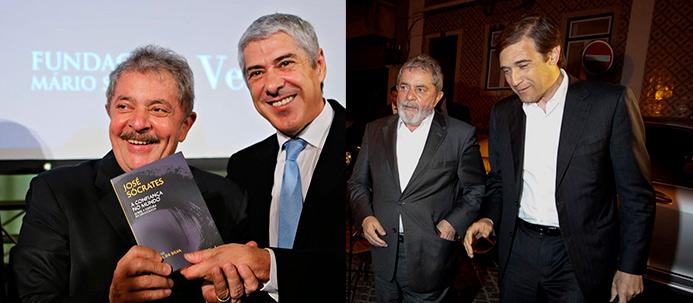 Lula da Silva e José Sócrates e Lula da Silva e Pedro Passos Coelho