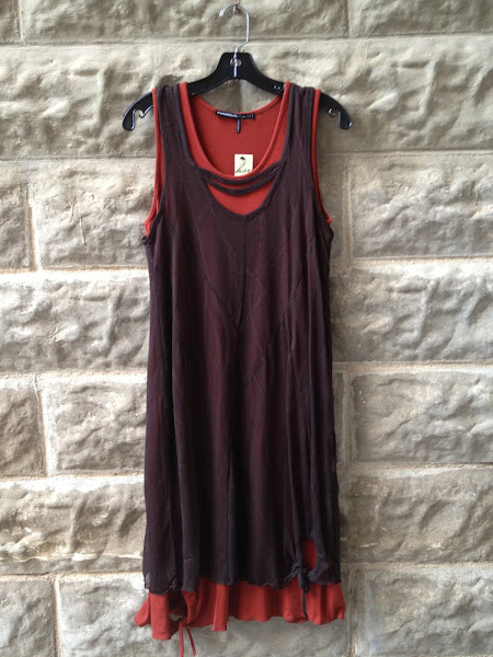 Rust and brown shift dress.  French. $182
