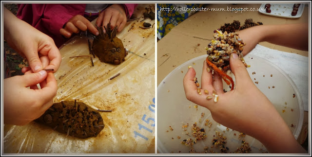 clay hedgehogs; pine cone bird feeders