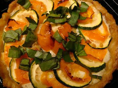 Zucchini, tomato, and ricotta tarts
