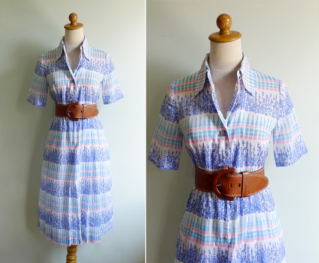vintage 70's shirtwaist collar dress