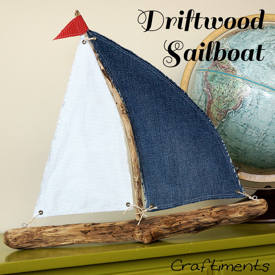 Craftiments red white and blue driftwood sailboat for Diy driftwood sailboat