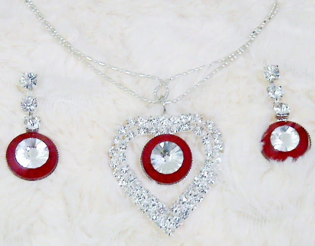 Silver And Red jewellery Set