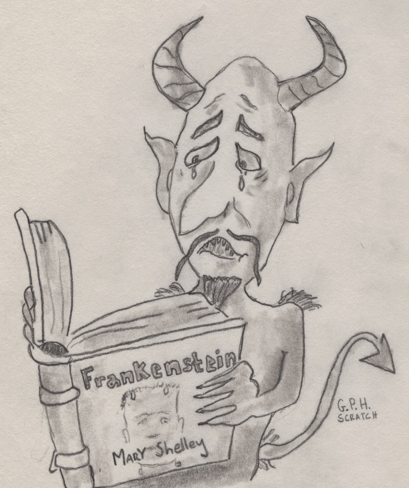 DEVIL READING FRANKENSTIEN