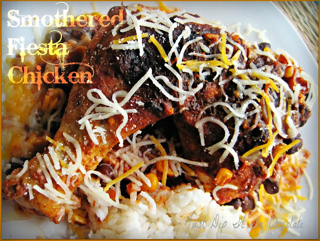 Smothered Fiesta Chicken Recipe, a party in your mouth with every bite with just a few ingredients and flavorful and economical cuts of chicken. #chickendinner #casserole #chicken