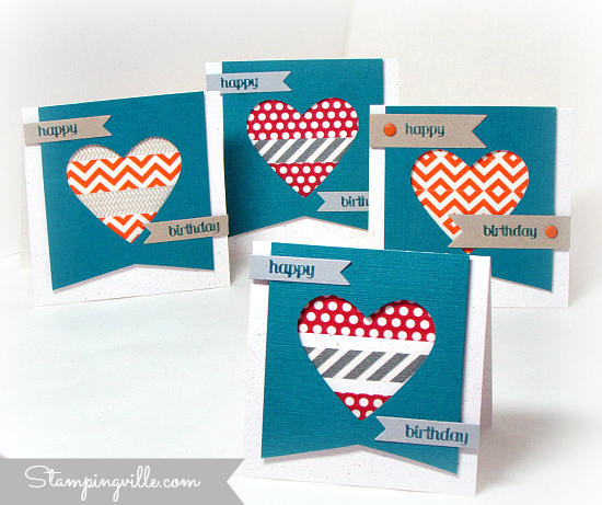 Washi tape ideas for 3x3 mini birthday cards (love notes)
