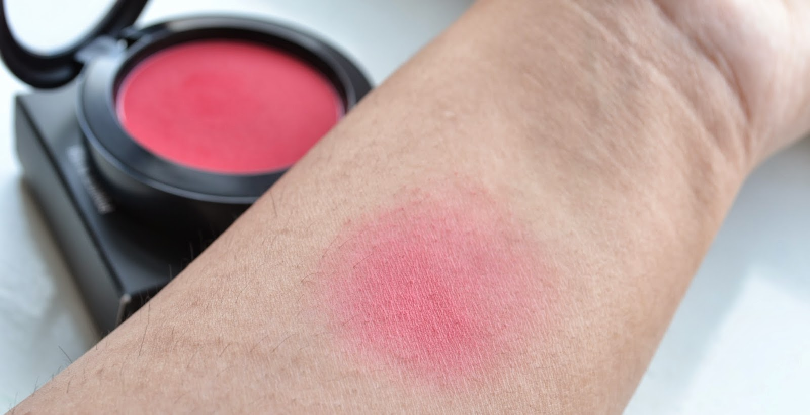 MAC Frankly Scarlet Blush Swatch blended - Beauty by Eff