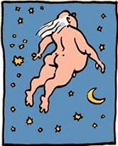 Laerte: Fat old guy among the moon & stars.