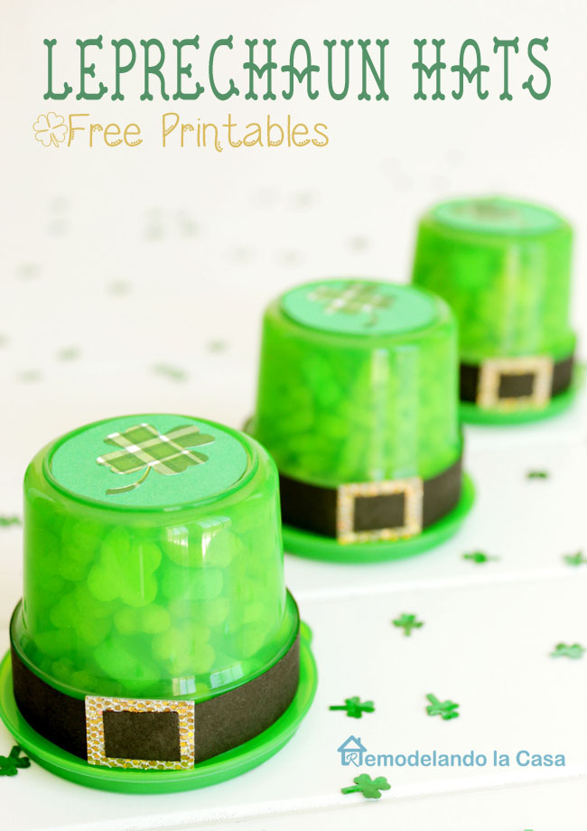 Green plastic containers are used as leprechaun hats