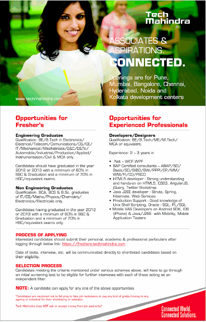 Tech Mahindra Hiring  Freshers Graduates and Experienced Professionals  As Developers and Designers At India Location