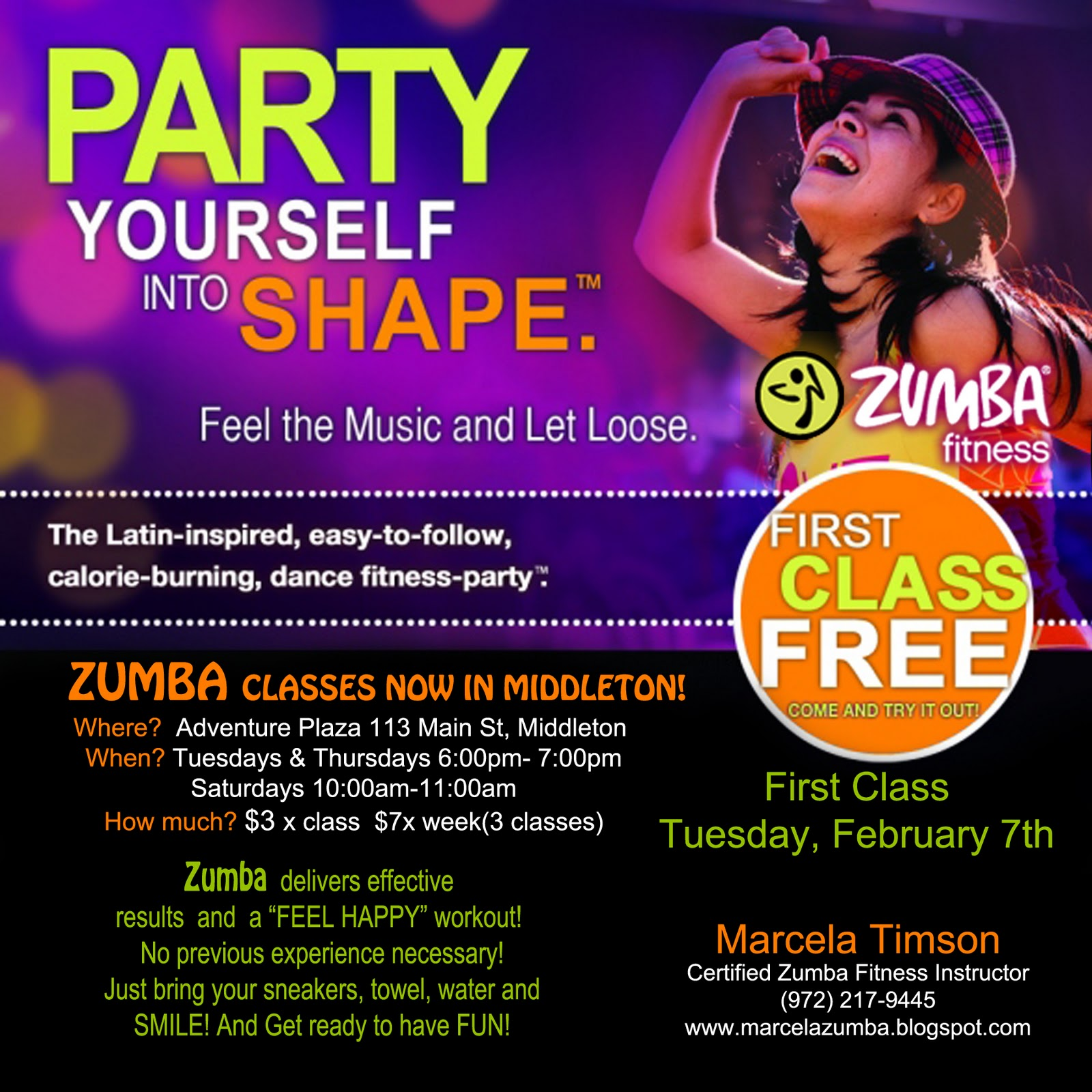 NEW CLASSES IN MIDDLETONZumba Class Flyer
