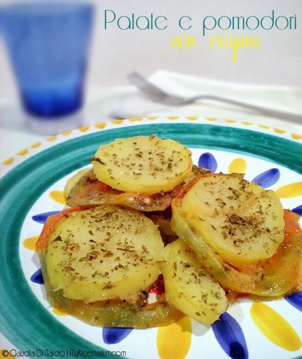 patate e pomodori con origano