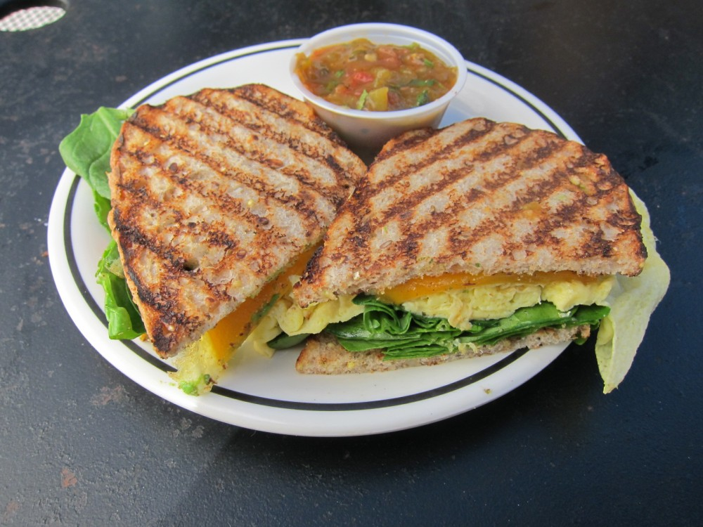 ... cheddar cheeses, on thinly-sliced whole grain harvest toast. Salsa is