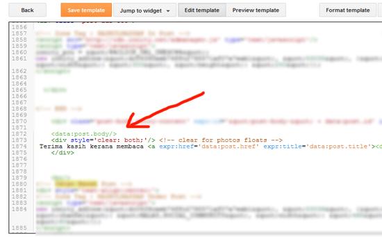 Cara Letak Link Entri Automatik Penghujung Entri
