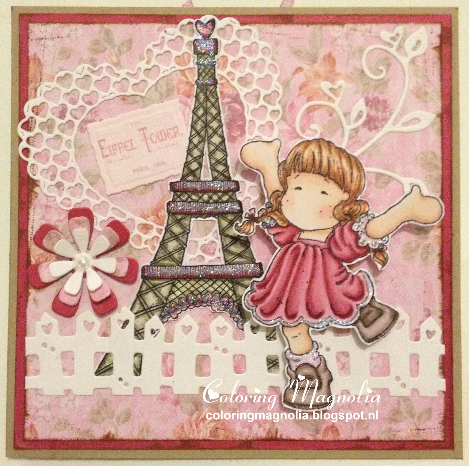Gift Card Juli-Anne - Magnolia Stamp 2008 & 2011 Shabby Chic Summer Collection - Eiffel Tower & Butterfly Dreams Collection - Happy Spring Tilda