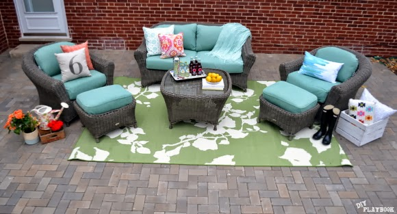 Martha Stewart Living - Patio view from above. CHeck out that great brick work!
