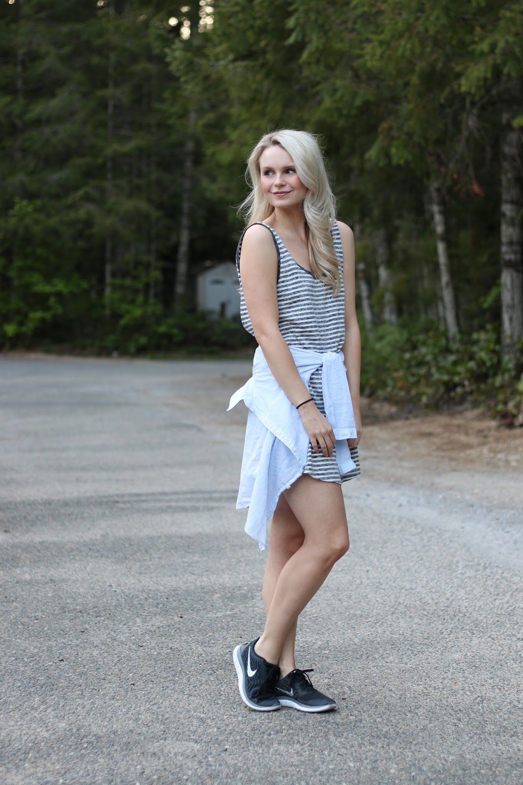 blogger happily demonstrates how to look cute while camping