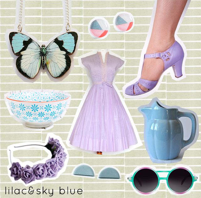 collage of lilac and blue items