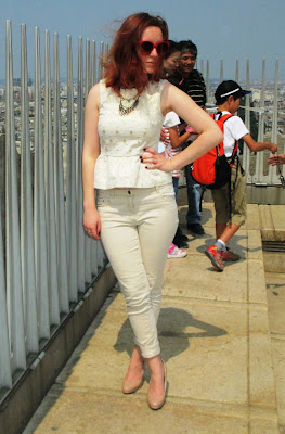 Arc de Triomphe white and gold peplum chinos railings