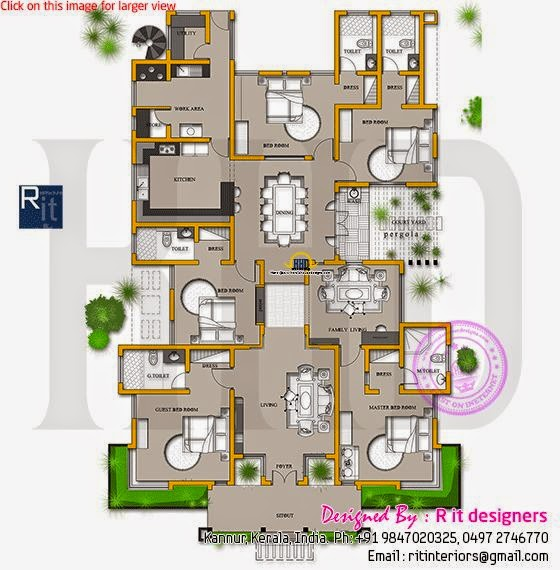 Finished House Floor Plan And Interiors Kerala Home