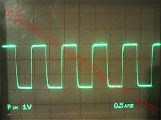 Przebiegi na linii CLK dla częstotliwości 1MHz.