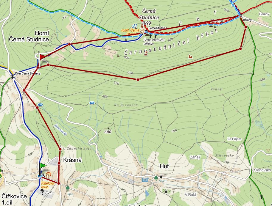 Trasa výletu z Krásné na Černou Studnici - mapa