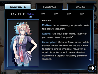 AXIOM.01 gameplay screenshot - Clues Suspects screen