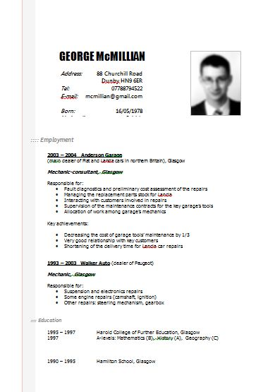 example resume cv canada word sample curriculum vitae pdf australia