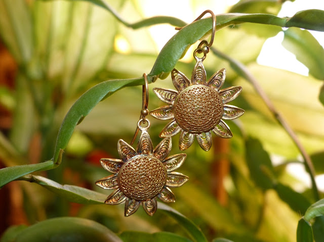 Gold-plated silver sunflower earrings