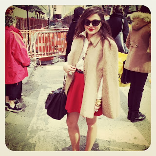 Olivia Inkster, what stylists are wearing, what to wear in New York City, vintage style, vintage capes, capes for winter, trends for winter 2013, Christmas outfit ideas, outfit inspiration, NYC outfits, NYC style, streetstyle in New York, Asos red skirt, full circle skirt, A-line mini skirt, A-line red skirt, ASOS skirts, ASOS circle mini, Camel jacket coat cape, camel jacket with collar, collar jacket, cateye sunglasses, vintage cateye glasses, Proenza Schouler sunglasses, Proenza Schouler black cateye glasses, designer cateye sunglasses right now, best sunglasses of 2013, best style in 2013, Fashion Week style in NYC New York, Ark & Co blouse, cream backless blouse, backless shirts, off white Ark and Co shirt, Ark & Co blouse, cute blouses for work, work outfit ideas, pinup inspiration, What I Wore in New York City, Lucky Magazine FABB conference, Lucky Magazine style, Lucky Magazine writers, Chanel handbags, vintage designer Chanel purse bag, metallic Chanel purse, CC logo black leather handbag, black leather designer purse, classic Chanel purse, classic look that I can copy, skirt and top to wear with heels, FABB style, FABB conference blogger, skirt and top with tiger leopard pumps heels, wearing loafers with a skirt, how to put a vintage look together, what should I wear to work, trendy work look, vintage work look, MadMen style, Mad Men outfit, Mad Men inspired outfit, gold bangles, stacking my jewelry, stacking gold bangles, MAC red lipstick, best red lipstick, matte Red lip color, Ruby Woo by MAC cosmetics, Russian Red lipstick by MAC, red skirt and matching lipstick, red and leopard print, mixing red with animal print, Kendra Phillip cuff, hammered gold cuff, Kate Spade bangles, AS GOOD AS GOLD bracelet bangle, what to wear for the holidays, New York City style, fashion forward bloggers, style bloggers writers in NYC New York, tiger print heels with red and cream, off-white and leopard, what to wear with smoking loafers slippers
