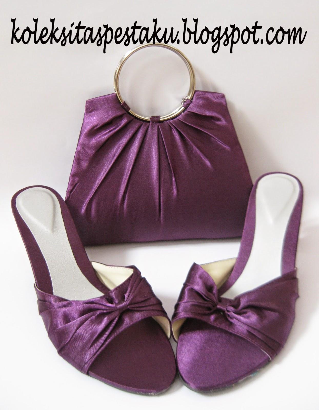 Ungu Cantik Clutch Bag dan Sepatu Pesta Mewah Elegant