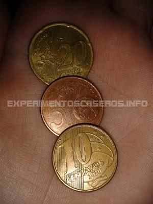 Experimentos Caseros monedas sustancia verde oxidacion vinagre