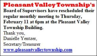 2-11 Pleasant Valley Twp. Meeting Rescheduled