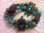 bracelete verde agua c azul