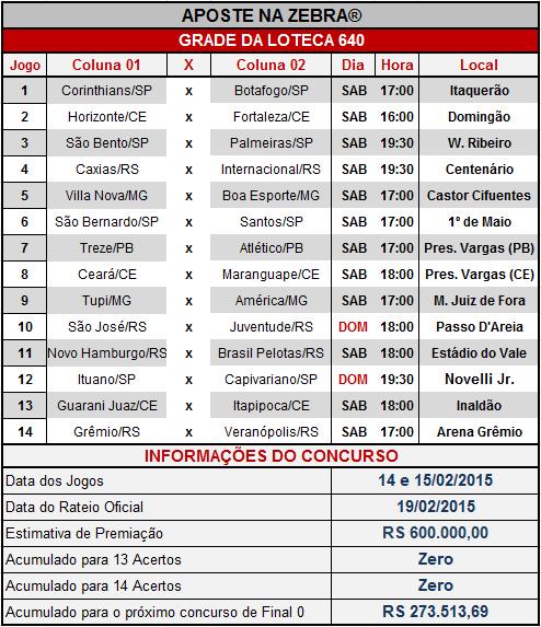 LOTECA 640 - GRADE OFICIAL COMPLETA