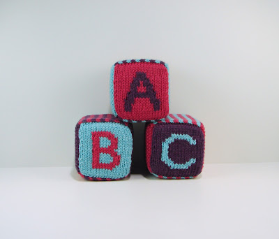 knitted, blocks, toy, baby, yarn, purple, pink, teal, abc, 123, letter, number