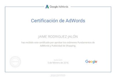Certificado Google AdWords Shopping Jaime Rodriguez-Jalón y Olea