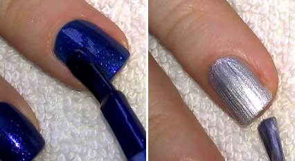 thumb index and middle finger nails are blue what i use is a sparkly polish ring and little finger nails are silver - Blue Christmas Nails