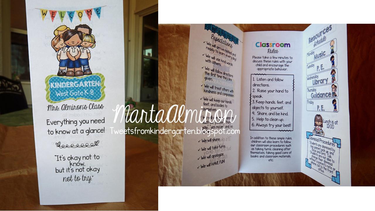 Tweets From Kindergarten: Easy Brochure for Back to School!