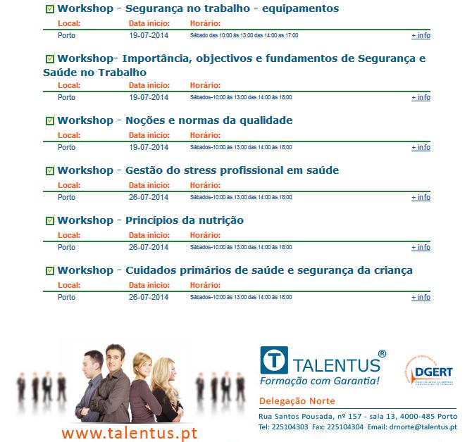 Workshops no Porto – Julho / 2014 (Sábados)