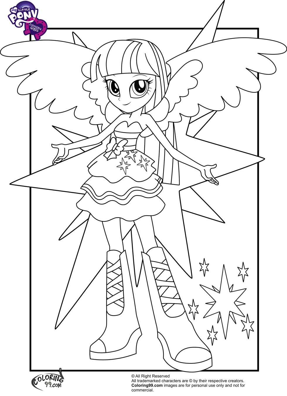 My Little Pony Equestria Girls Coloring Pages Team Colors Equestria Twilight Sparkle Coloring Pages