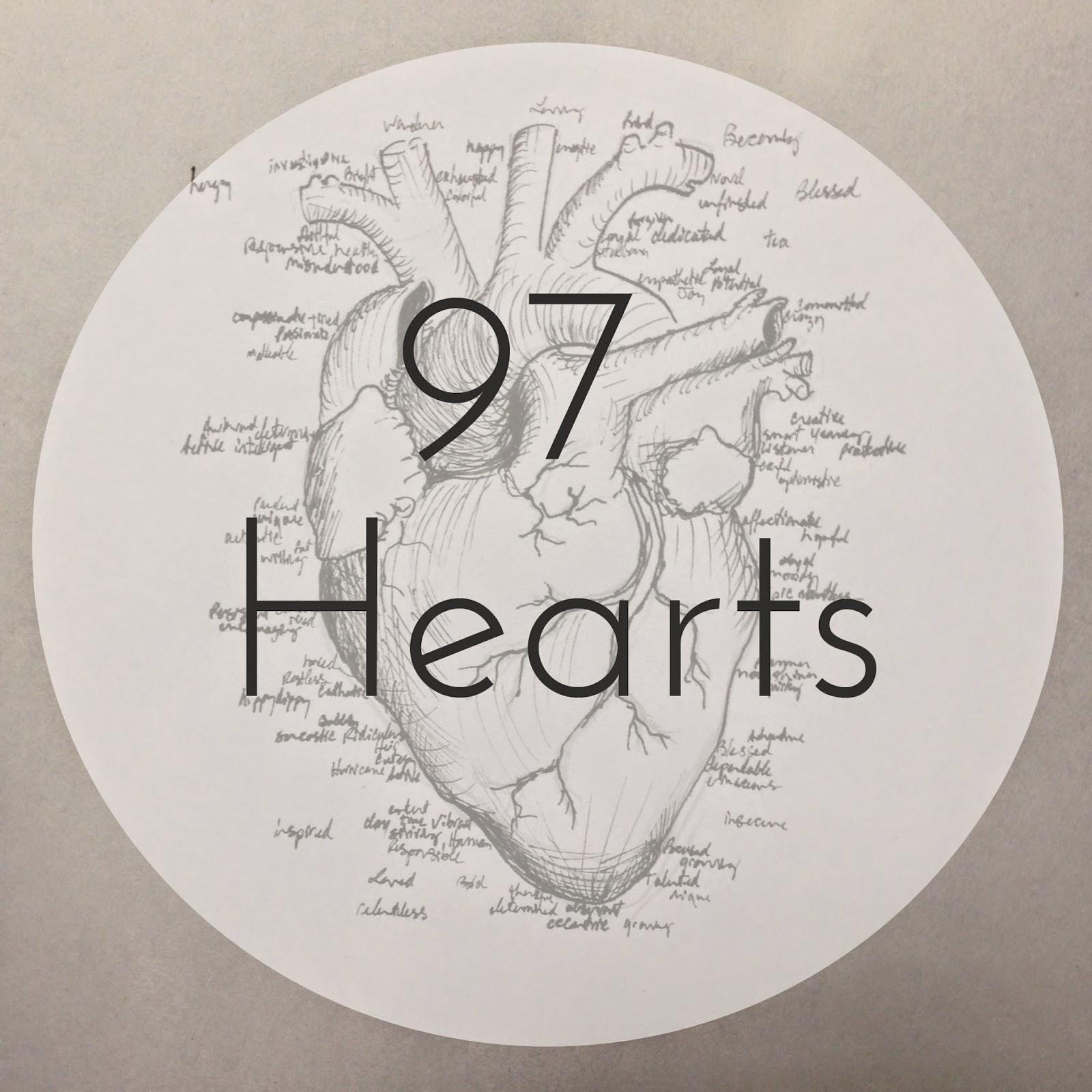 97 Hearts anatomical heart drawing