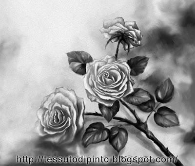 Quadro floreale pittura digitale versione bianco e nero